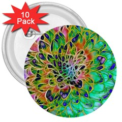 Abstract Peacock Chrysanthemum 3  Button (10 Pack) by bloomingvinedesign