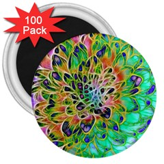 Abstract Peacock Chrysanthemum 3  Button Magnet (100 Pack) by bloomingvinedesign