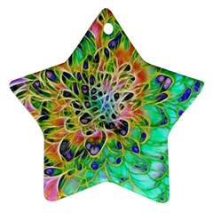 Abstract Peacock Chrysanthemum Star Ornament (two Sides) by bloomingvinedesign