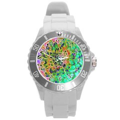 Abstract Peacock Chrysanthemum Plastic Sport Watch (large) by bloomingvinedesign