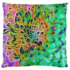 Abstract peacock Chrysanthemum Standard Flano Cushion Case (One Side) by bloomingvinedesign