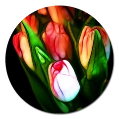 Abstract Pink Tulips Magnet 5  (round) by bloomingvinedesign