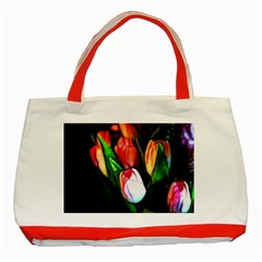 Abstract Pink Tulips Classic Tote Bag (red) by bloomingvinedesign