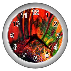 Abstract Of An Orange Gerbera Daisy Wall Clock (silver) by bloomingvinedesign