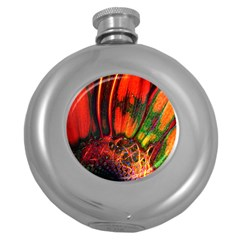 Abstract Of An Orange Gerbera Daisy Hip Flask (round) by bloomingvinedesign