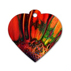 Abstract Of An Orange Gerbera Daisy Dog Tag Heart (two Sided) by bloomingvinedesign