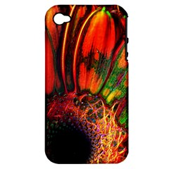 Abstract Of An Orange Gerbera Daisy Apple Iphone 4/4s Hardshell Case (pc+silicone) by bloomingvinedesign