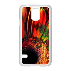 Abstract Of An Orange Gerbera Daisy Samsung Galaxy S5 Case (white) by bloomingvinedesign