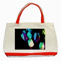 Abstract Purple Tulips Classic Tote Bag (red) by bloomingvinedesign