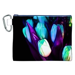 Abstract Purple Tulips Canvas Cosmetic Bag (xxl) by bloomingvinedesign