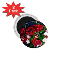 Abstract Red And White Roses Bouquet 1 75  Button Magnet (10 Pack) by bloomingvinedesign