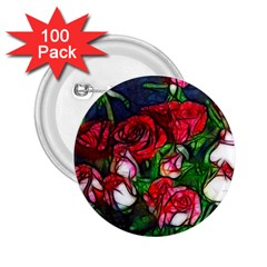 Abstract Red And White Roses Bouquet 2 25  Button (100 Pack) by bloomingvinedesign