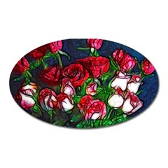 Abstract Red And White Roses Bouquet Magnet (oval) by bloomingvinedesign