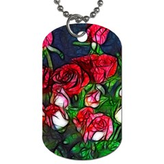 Abstract Red And White Roses Bouquet Dog Tag (one Sided) by bloomingvinedesign