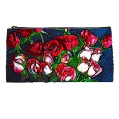 Abstract Red And White Roses Bouquet Pencil Case by bloomingvinedesign