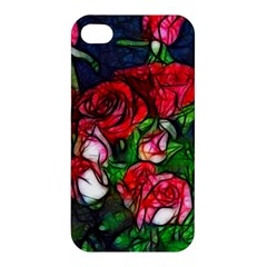 Abstract Red And White Roses Bouquet Apple Iphone 4/4s Premium Hardshell Case by bloomingvinedesign