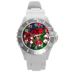 Abstract Red And White Roses Bouquet Plastic Sport Watch (large) by bloomingvinedesign