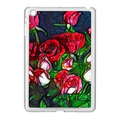 Abstract Red and White Roses Bouquet Apple iPad Mini Case (White) by bloomingvinedesign