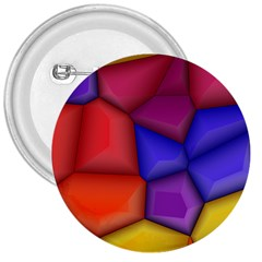 3d Colorful Shapes 3  Button by LalyLauraFLM