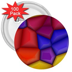 3d Colorful Shapes 3  Button (100 Pack) by LalyLauraFLM