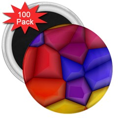 3d Colorful Shapes 3  Magnet (100 Pack) by LalyLauraFLM