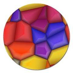 3d Colorful Shapes Magnet 5  (round) by LalyLauraFLM