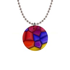3d Colorful Shapes 1  Button Necklace by LalyLauraFLM