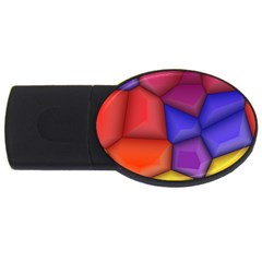 3d Colorful Shapes Usb Flash Drive Oval (4 Gb) by LalyLauraFLM