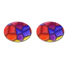 3d Colorful Shapes Cufflinks (oval) by LalyLauraFLM