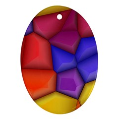 3d Colorful Shapes Oval Ornament (two Sides) by LalyLauraFLM