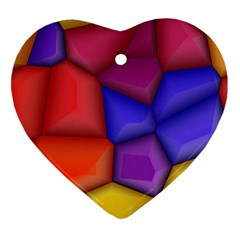 3d Colorful Shapes Heart Ornament (two Sides) by LalyLauraFLM
