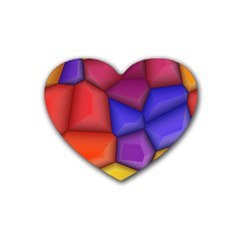 3d Colorful Shapes Heart Coaster (4 Pack) by LalyLauraFLM