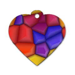 3d Colorful Shapes Dog Tag Heart (two Sides) by LalyLauraFLM