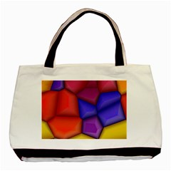 3d Colorful Shapes Basic Tote Bag (two Sides) by LalyLauraFLM