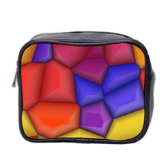 3d Colorful Shapes Mini Toiletries Bag (two Sides) by LalyLauraFLM