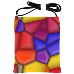 3d Colorful Shapes Shoulder Sling Bag by LalyLauraFLM