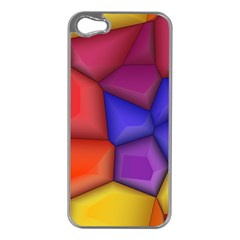 3d Colorful Shapes Apple Iphone 5 Case (silver) by LalyLauraFLM