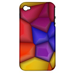 3d Colorful Shapes Apple Iphone 4/4s Hardshell Case (pc+silicone) by LalyLauraFLM