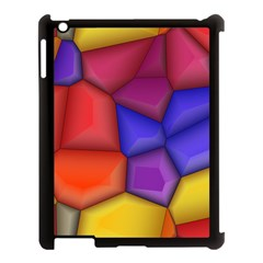 3d Colorful Shapes Apple Ipad 3/4 Case (black) by LalyLauraFLM