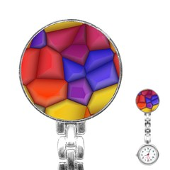 3d Colorful Shapes Stainless Steel Nurses Watch by LalyLauraFLM