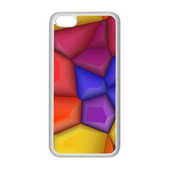 3d Colorful Shapes Apple Iphone 5c Seamless Case (white) by LalyLauraFLM