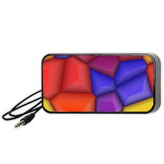 3d Colorful Shapes Portable Speaker (black) by LalyLauraFLM