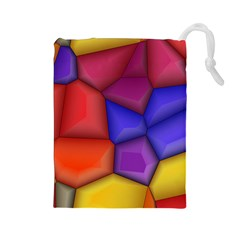 3d Colorful Shapes Drawstring Pouch (large) by LalyLauraFLM