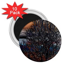 Abstract Sunset Tree 2 25  Button Magnet (10 Pack) by bloomingvinedesign