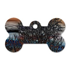 Abstract Sunset Tree Dog Tag Bone (one Sided)