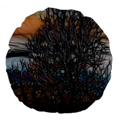Abstract Sunset Tree 18  Premium Round Cushion  by bloomingvinedesign