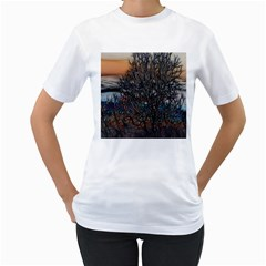 Abstract Sunset Tree Women s T Shirt (white)  by bloomingvinedesign