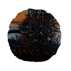 Abstract Sunset Tree 15  Premium Flano Round Cushion  by bloomingvinedesign