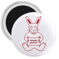 Cute Bunny With Banner Drawing 3  Button Magnet by dflcprints