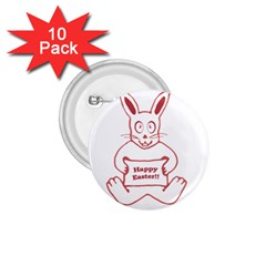 Cute Bunny With Banner Drawing 1 75  Button (10 Pack) by dflcprints